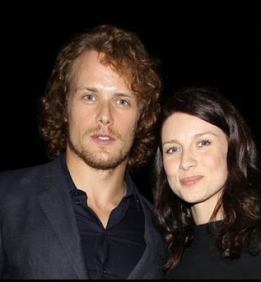 Sam Heughan and Caitriona Balfe as Jamie and Claire Fraser in