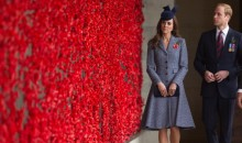 Catherine, Duchess of Cambridge wears her Michael Kors tweed coat for the first time on ANZAC Memorial Day in Canberra, Australia in 2014.