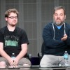 Producers Justin Roiland (L) and Dan Harmon speak onstage during the 'Rick and Morty' panel at the 2013 Summer Television Critics Association tour at the Beverly Hilton Hotel on July 24, 2013.