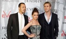 Kristen Stewart with actor Chris Hemsworth and SWATH director Rupert Sanders