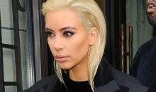 Kim Kardashian with her platinum blonde hair